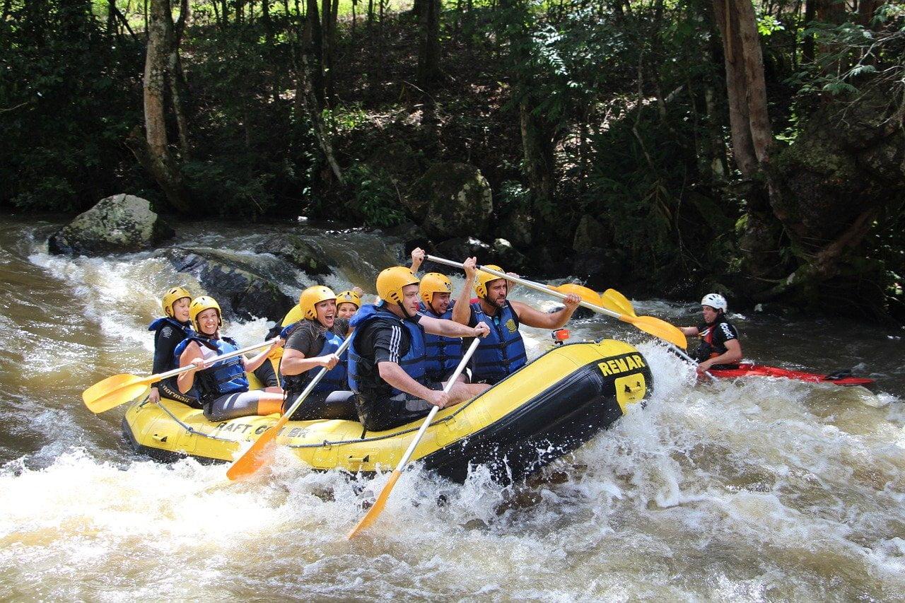 rafting, wave, rapids
